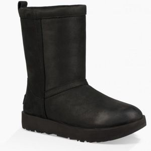 UGG classic short waterproof leather black boots 8